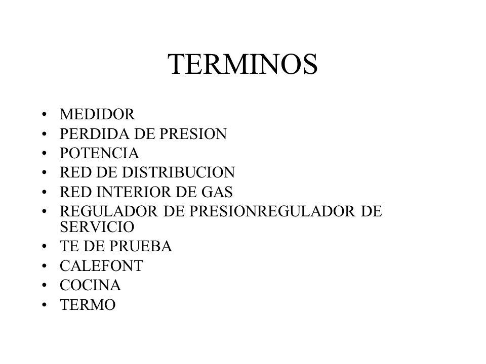 TERMINOS MEDIDOR PERDIDA DE PRESION POTENCIA RED DE DISTRIBUCION