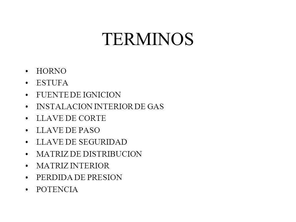 TERMINOS HORNO ESTUFA FUENTE DE IGNICION INSTALACION INTERIOR DE GAS
