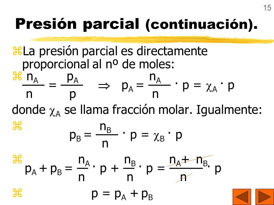 Presión parcial (continuación).