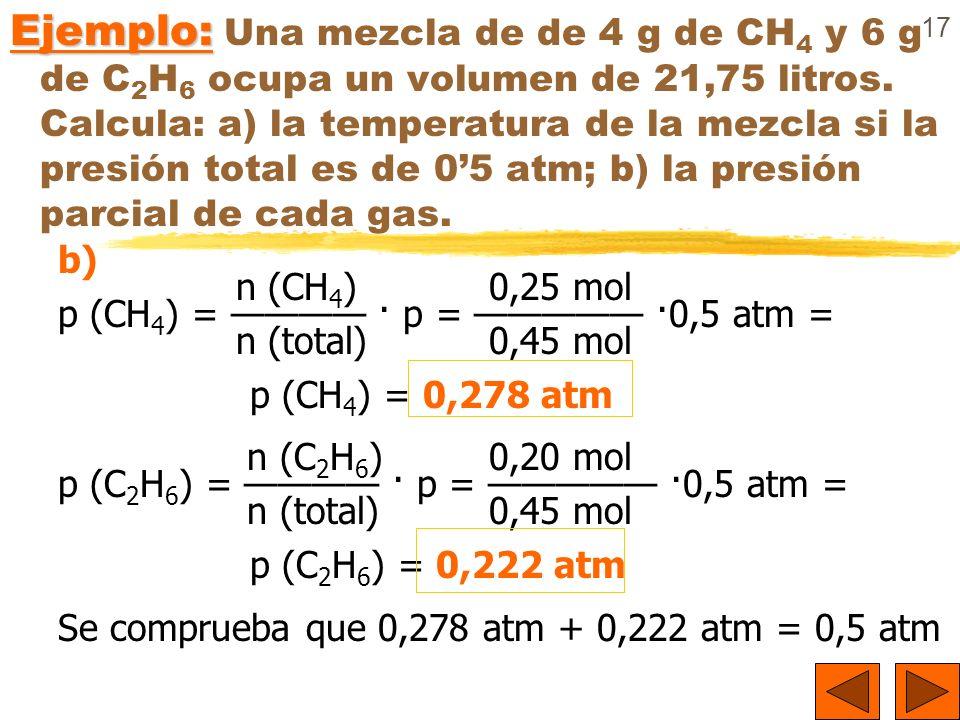 Ejemplo: Una mezcla de de 4 g de CH4 y 6 g de C2H6 ocupa un volumen de 21,75 litros. Calcula: a) la temperatura de la mezcla si la presión total es de 0'5 atm; b) la presión parcial de cada gas.