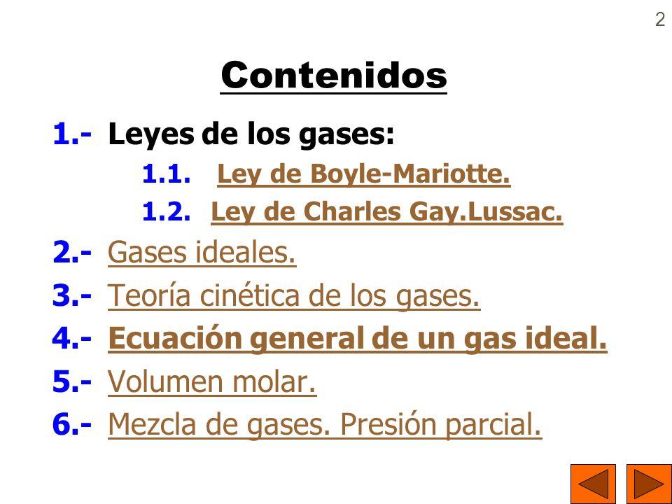 Contenidos 1.- Leyes de los gases: 2.- Gases ideales.