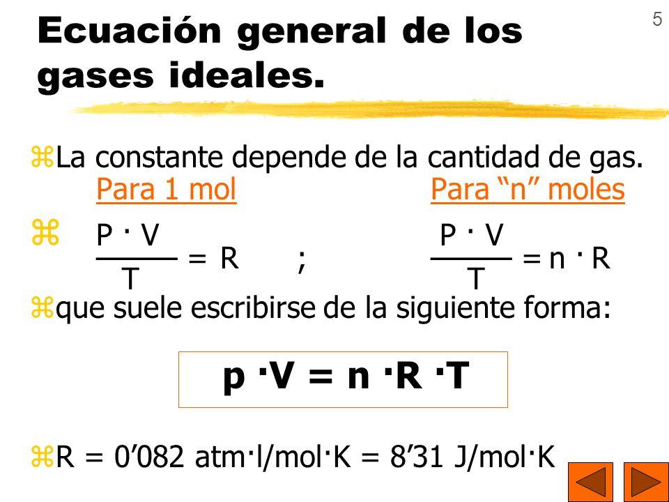 Ecuación general de los gases ideales.