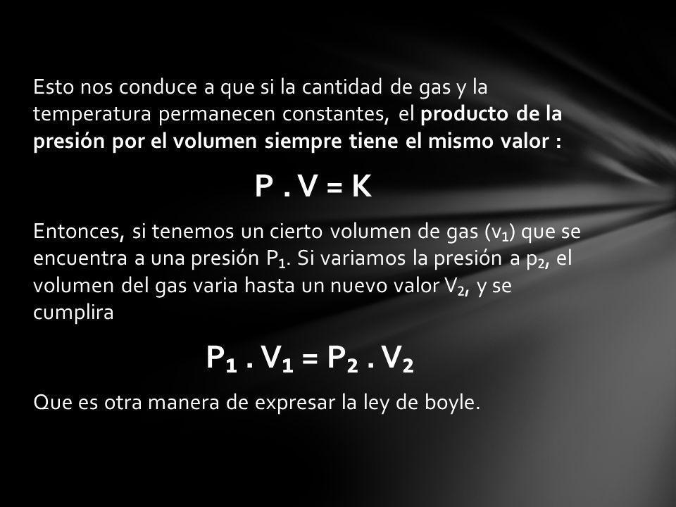 Esto nos conduce a que si la cantidad de gas y la temperatura permanecen constantes, el producto de la presión por el volumen siempre tiene el mismo valor :