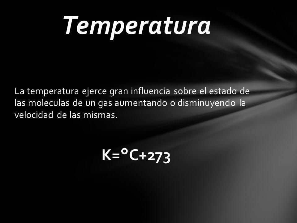 Temperatura La temperatura ejerce gran influencia sobre el estado de las moleculas de un gas aumentando o disminuyendo la velocidad de las mismas.