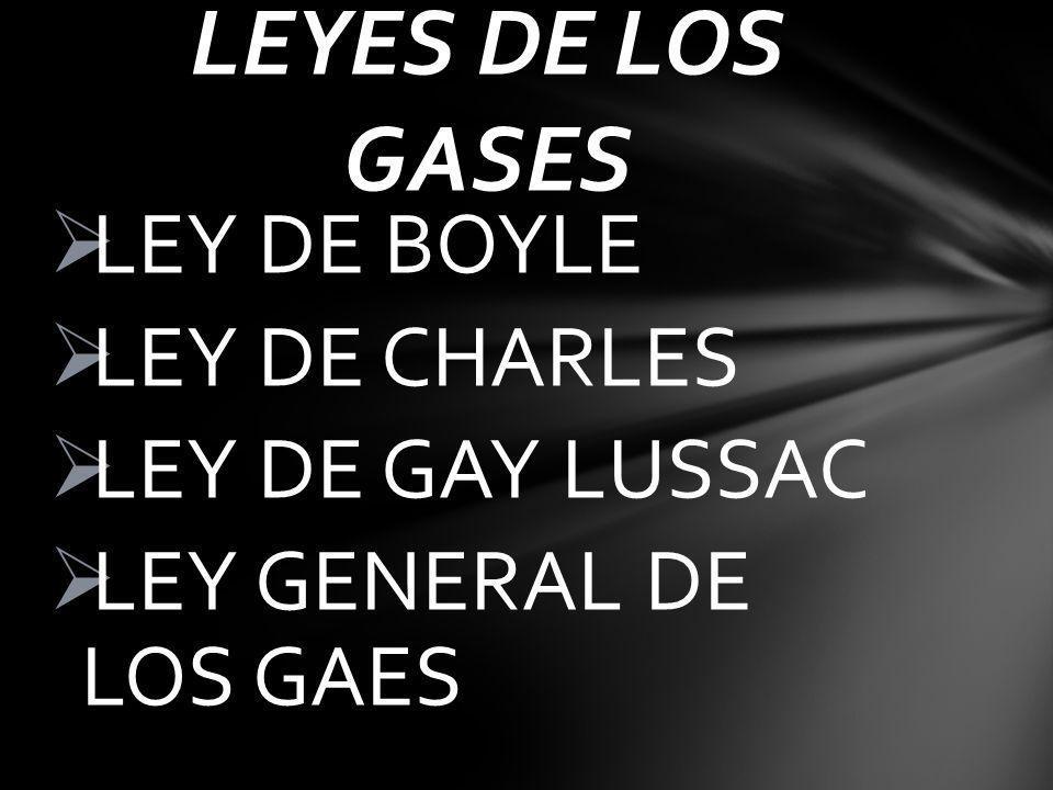 LEYES DE LOS GASES LEY DE BOYLE LEY DE CHARLES LEY DE GAY LUSSAC