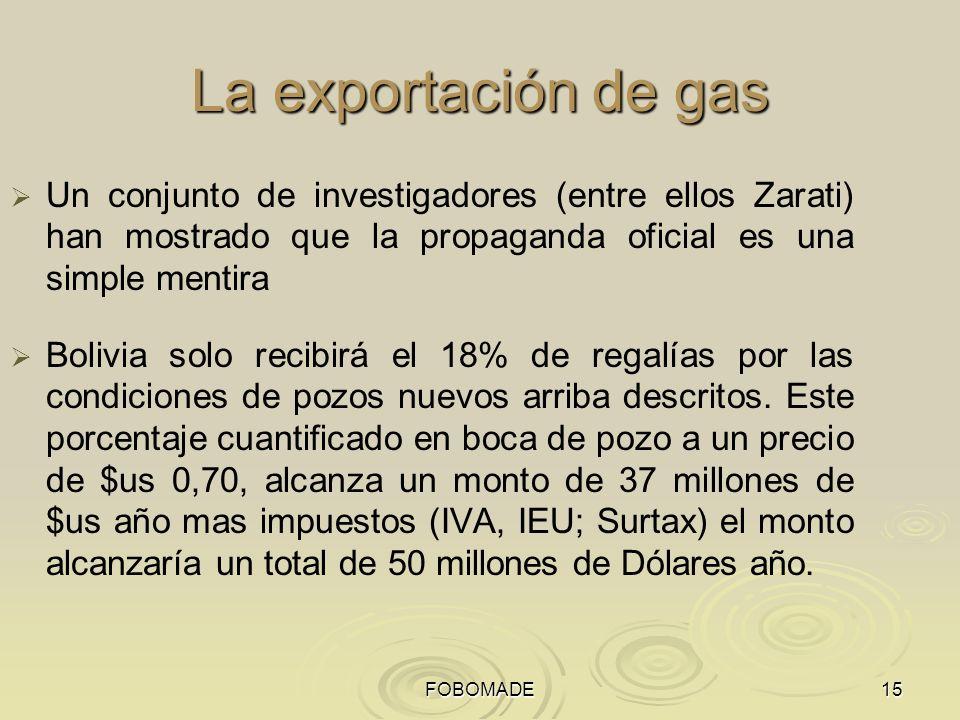 La exportación de gas Un conjunto de investigadores (entre ellos Zarati) han mostrado que la propaganda oficial es una simple mentira.