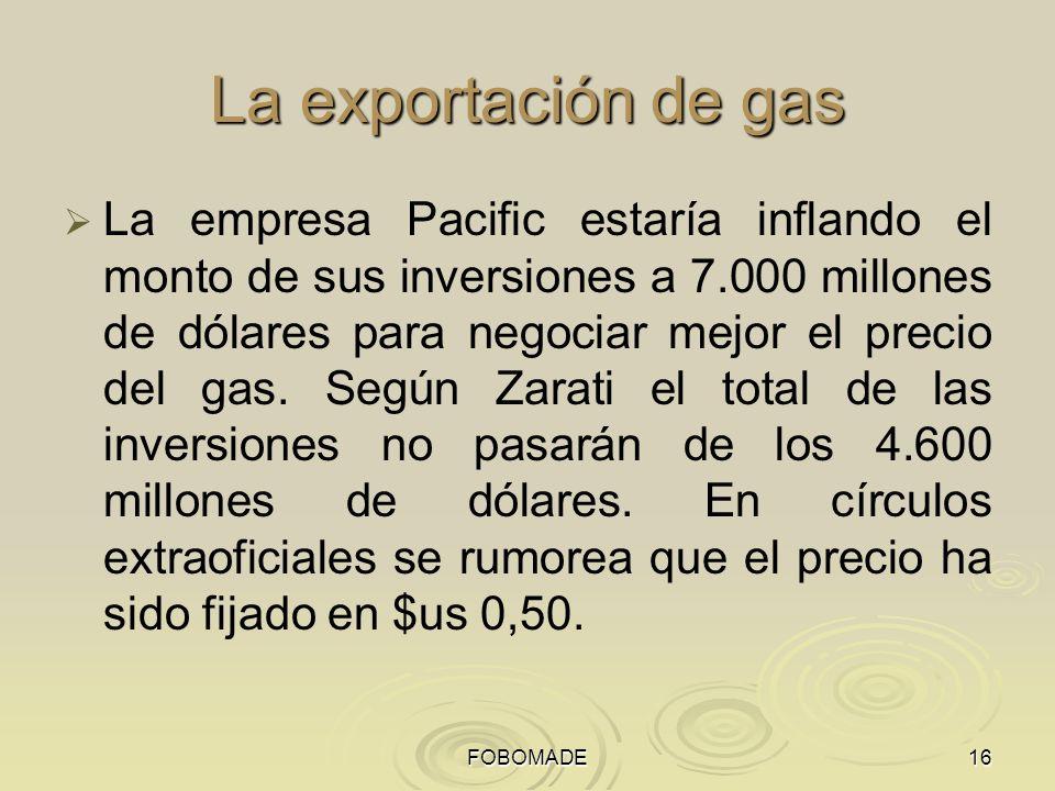 La exportación de gas