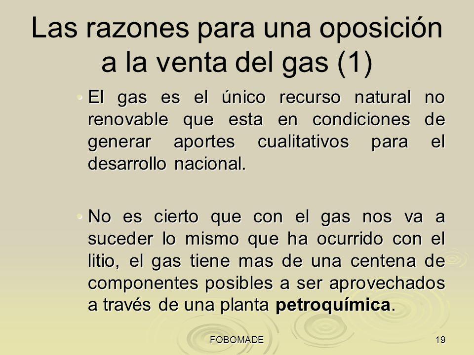 Las razones para una oposición a la venta del gas (1)