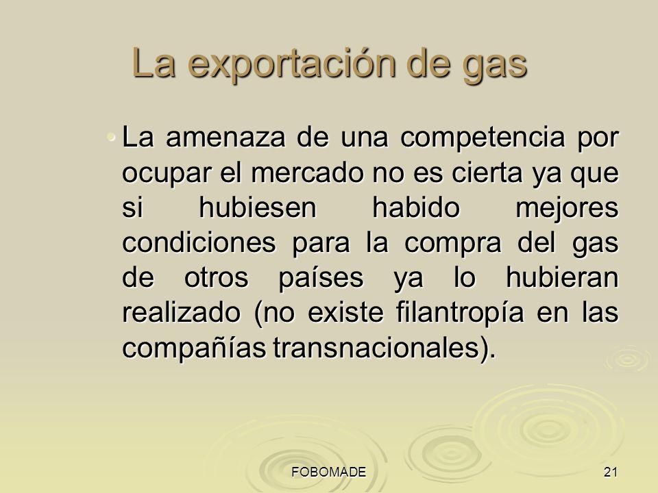 FOBOMADE La exportación de gas.