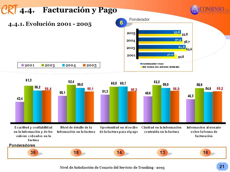 4.4. Facturación y Pago 6 4.4.1. Evolución 2001 - 2005 39 18 14 13 16