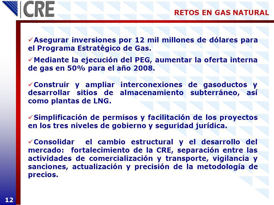 RETOS EN GAS NATURAL Asegurar inversiones por 12 mil millones de dólares para el Programa Estratégico de Gas.