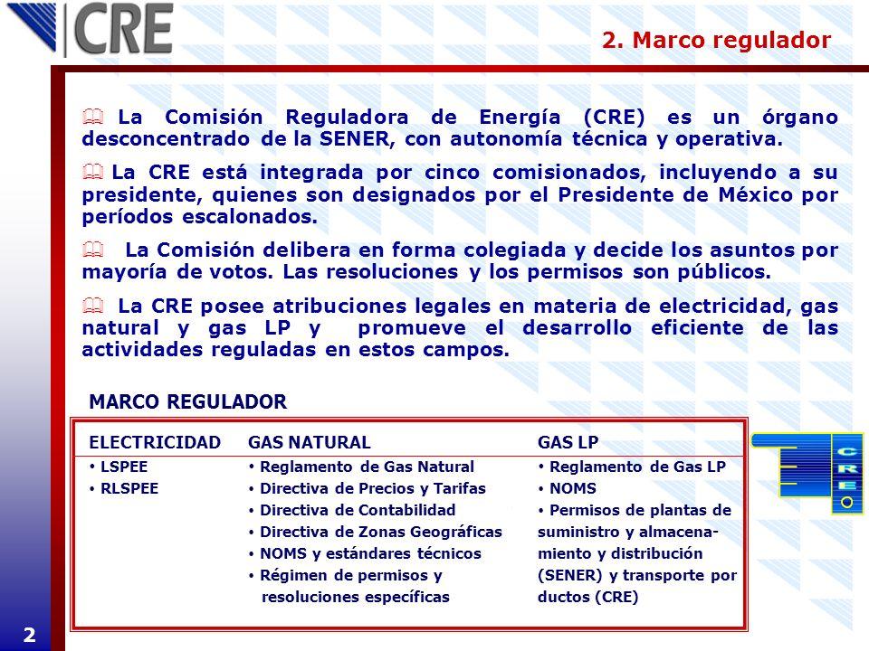 2. Marco regulador La Comisión Reguladora de Energía (CRE) es un órgano desconcentrado de la SENER, con autonomía técnica y operativa.