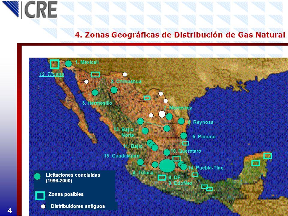 4. Zonas Geográficas de Distribución de Gas Natural