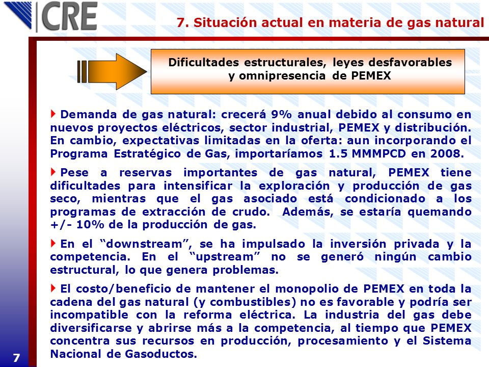 7. Situación actual en materia de gas natural