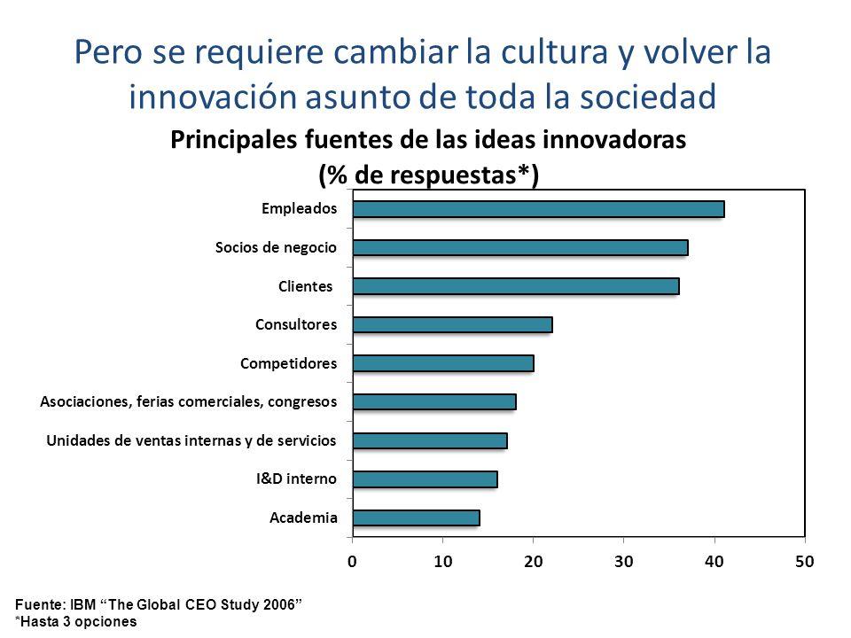 Pero se requiere cambiar la cultura y volver la innovación asunto de toda la sociedad