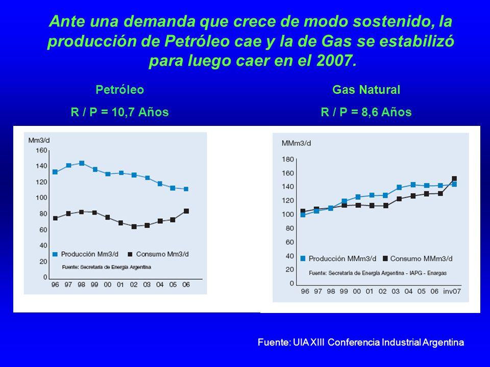 Ante una demanda que crece de modo sostenido, la producción de Petróleo cae y la de Gas se estabilizó para luego caer en el 2007.