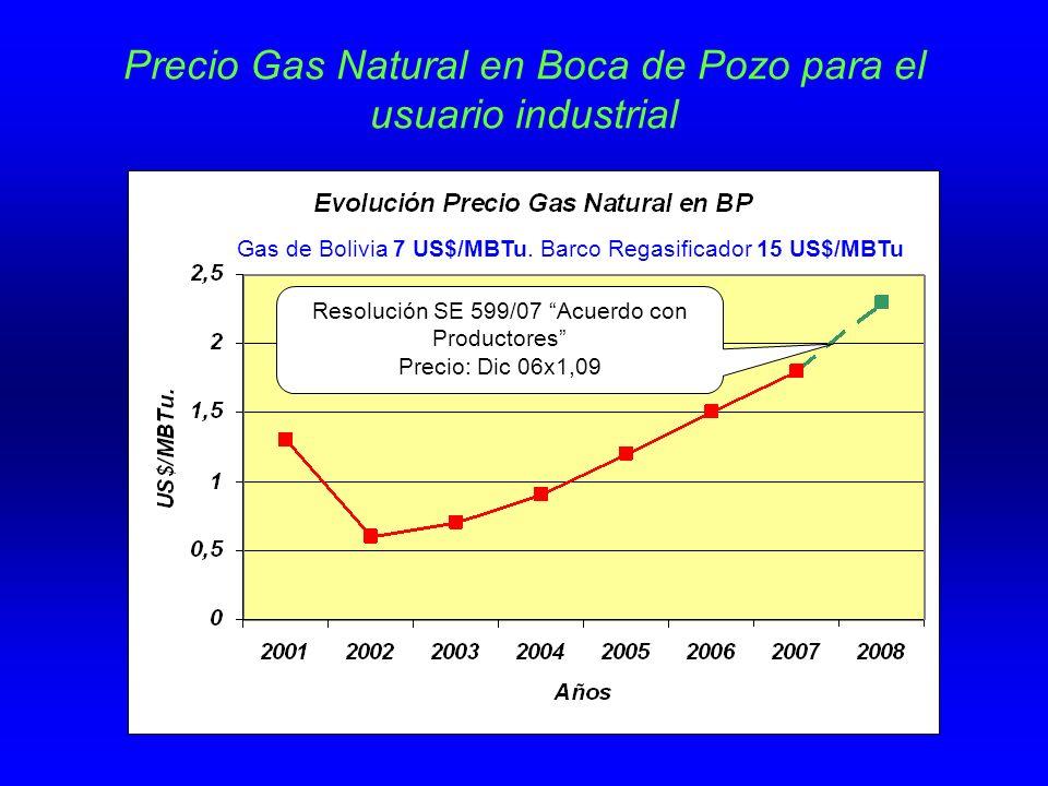 Precio Gas Natural en Boca de Pozo para el usuario industrial