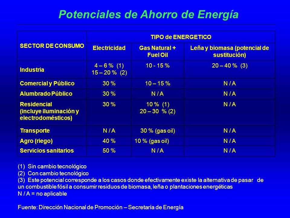 Potenciales de Ahorro de Energía
