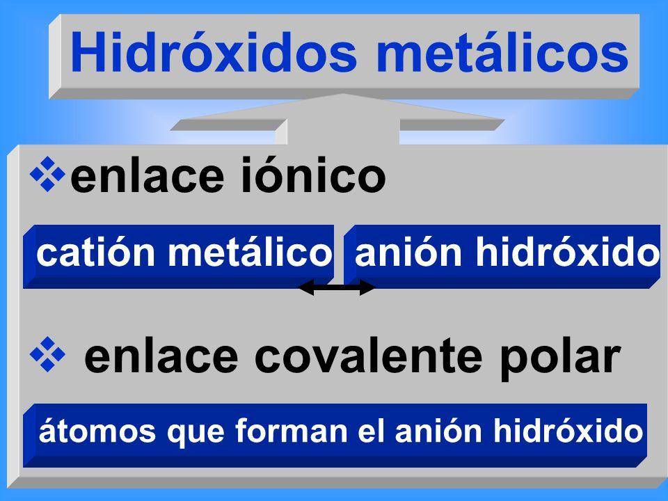 átomos que forman el anión hidróxido
