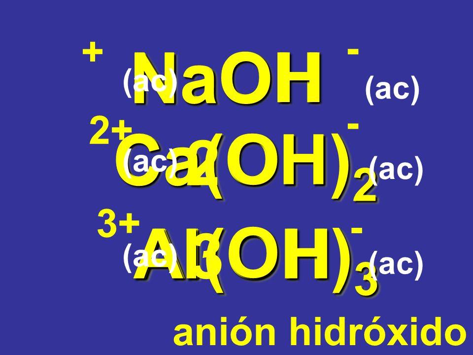 Na O H Ca O H Al O H 2 3 NaOH Ca(OH)2 Al(OH)3 - + - 2+ 3+ -