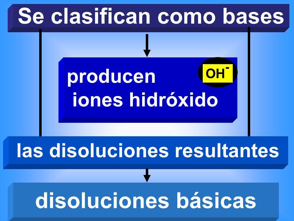 Se clasifican como bases las disoluciones resultantes