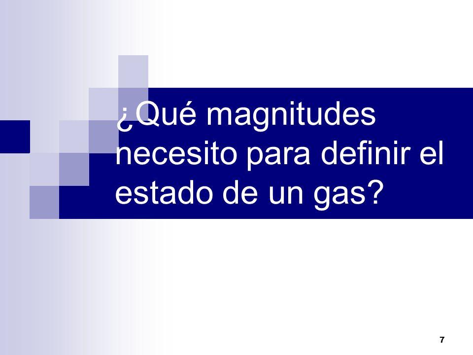 ¿Qué magnitudes necesito para definir el estado de un gas