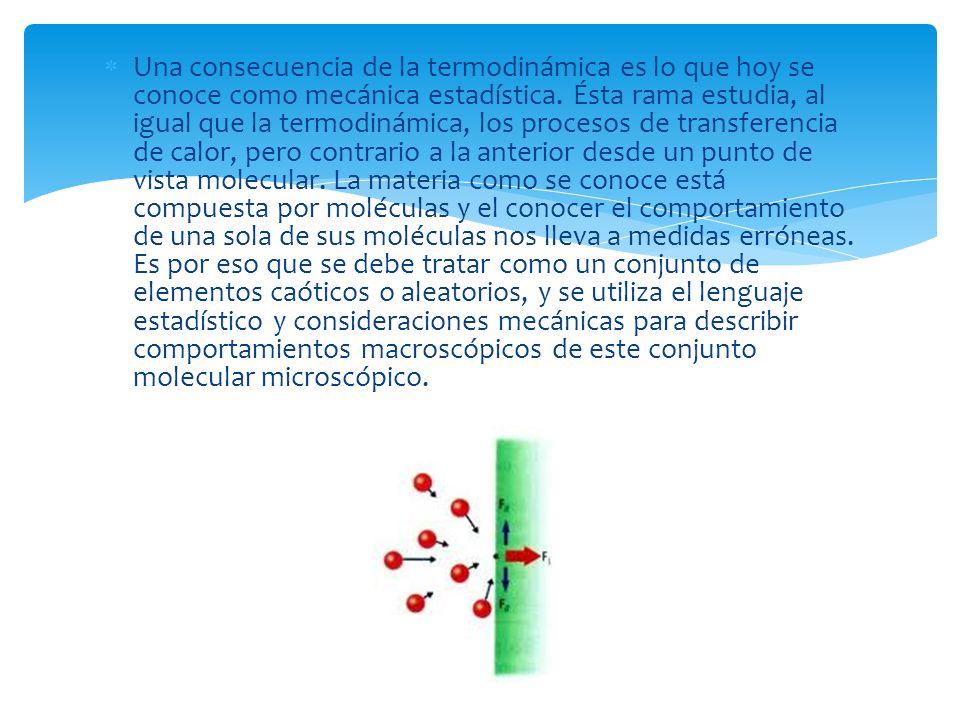 Una consecuencia de la termodinámica es lo que hoy se conoce como mecánica estadística.