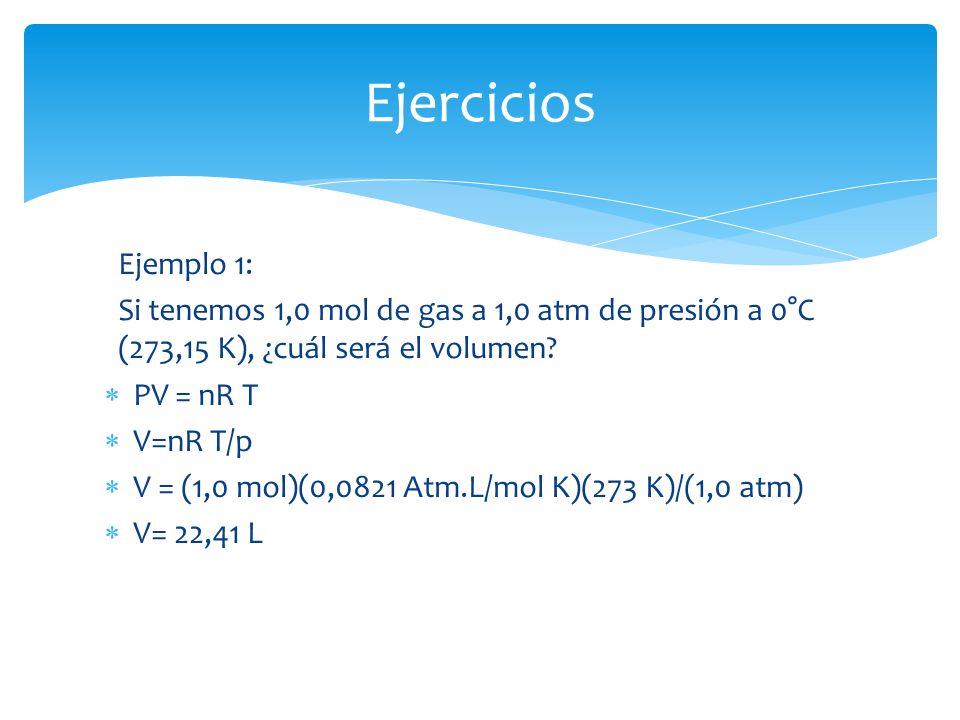 Ejercicios Ejemplo 1: Si tenemos 1,0 mol de gas a 1,0 atm de presión a 0°C (273,15 K), ¿cuál será el volumen