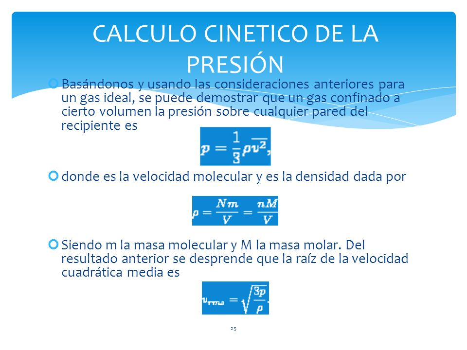 CALCULO CINETICO DE LA PRESIÓN
