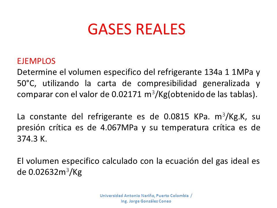 GASES REALES EJEMPLOS.