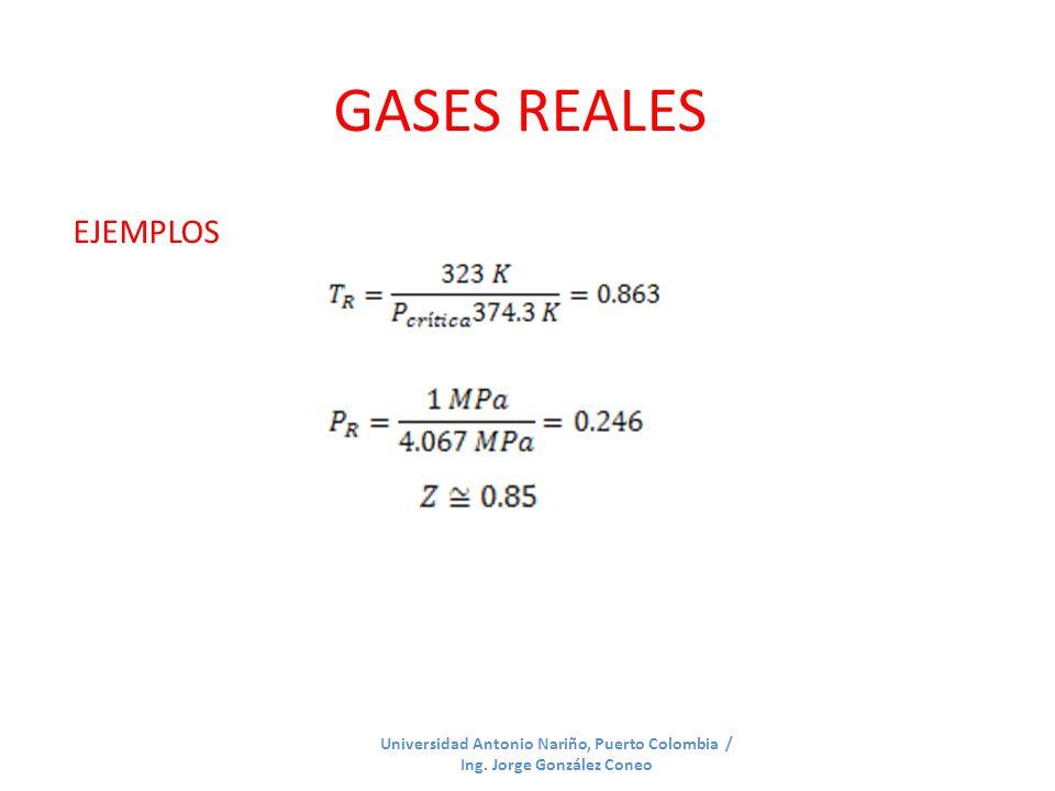 GASES REALES EJEMPLOS Universidad Antonio Nariño, Puerto Colombia / Ing. Jorge González Coneo