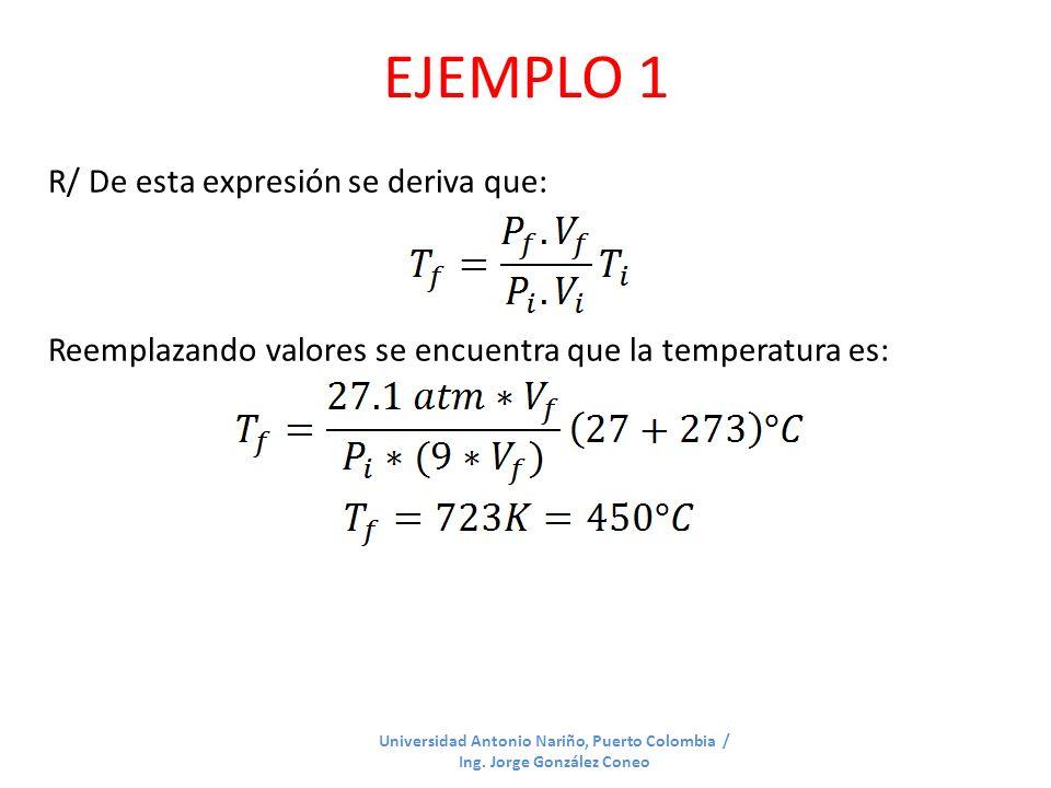 EJEMPLO 1 R/ De esta expresión se deriva que: