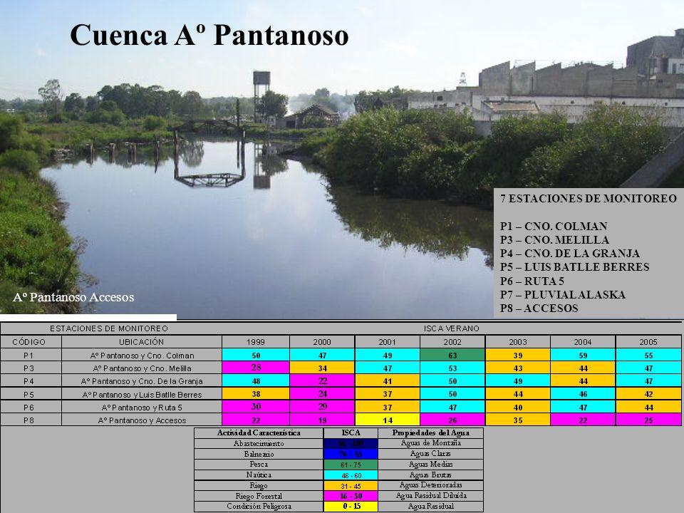 Cuenca Aº Pantanoso Aº Pantanoso Accesos Cuenca: 70 km2 Tributarios: