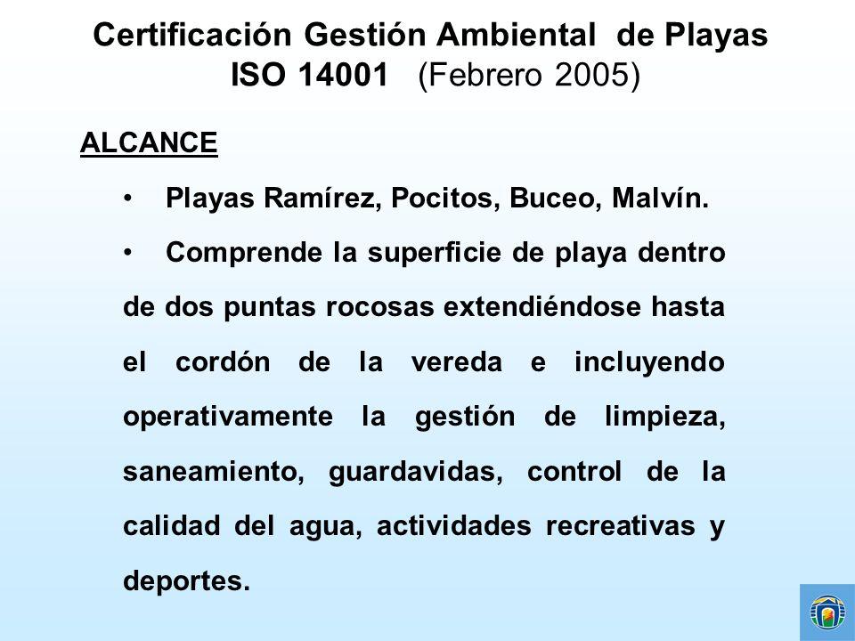 Certificación Gestión Ambiental de Playas ISO 14001 (Febrero 2005)