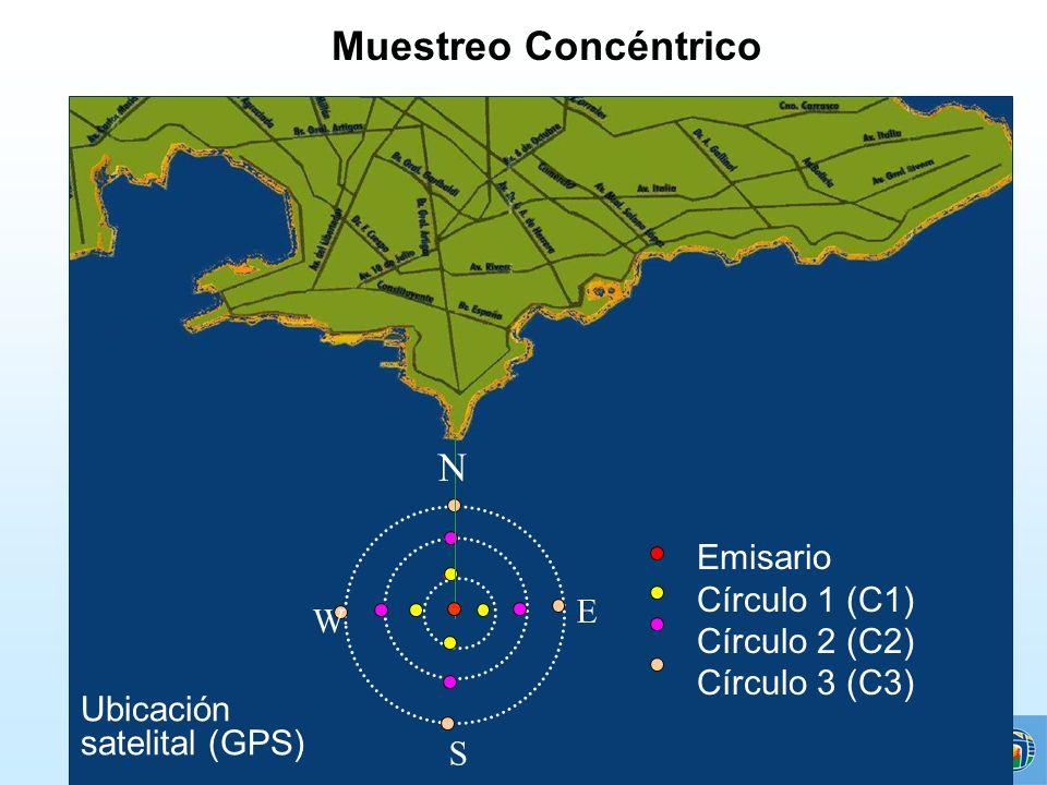 Muestreo Concéntrico N Emisario Círculo 1 (C1) Círculo 2 (C2) E W