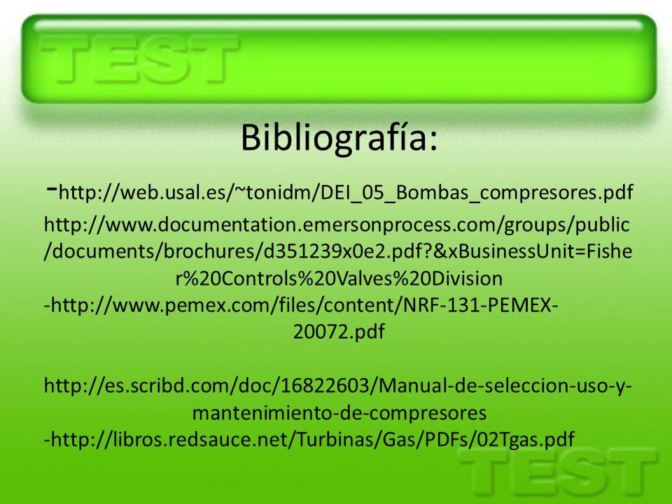 Bibliografía: -http://web. usal. es/~tonidm/DEI_05_Bombas_compresores