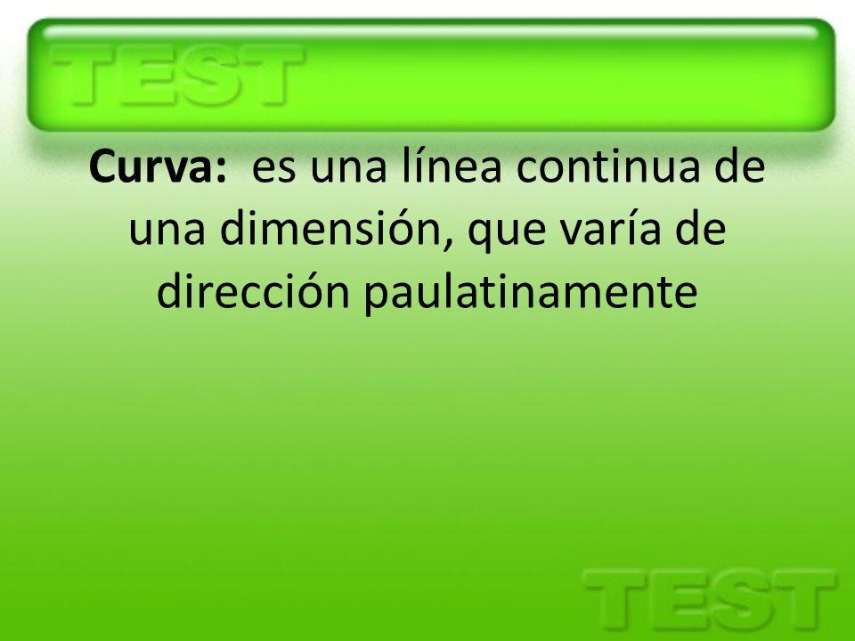 Curva: es una línea continua de una dimensión, que varía de dirección paulatinamente