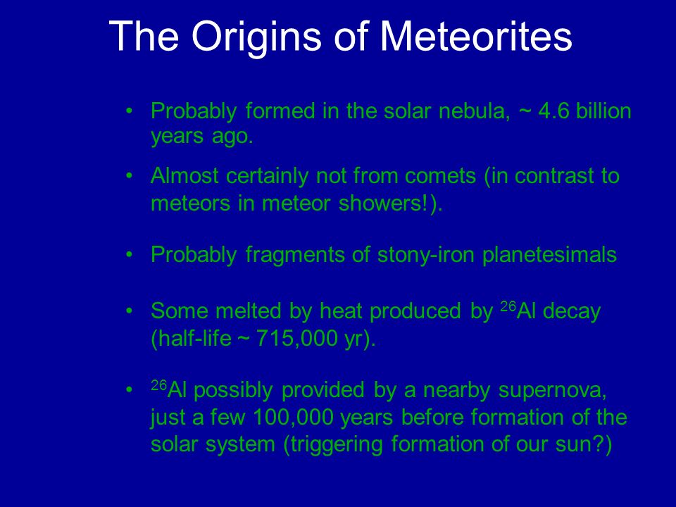 The Origins of Meteorites