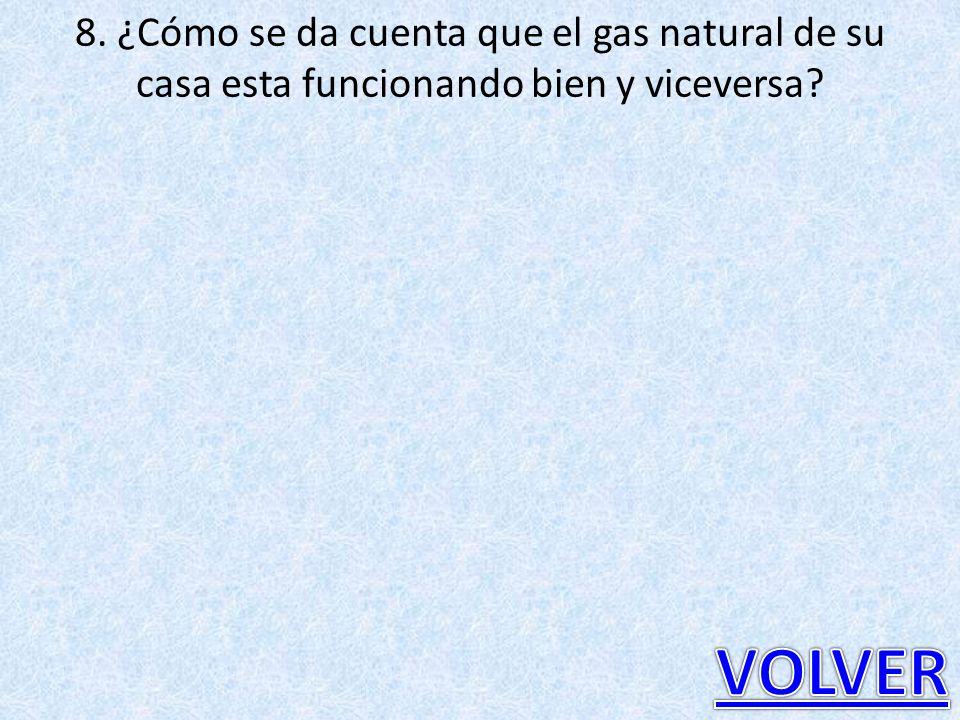 8. ¿Cómo se da cuenta que el gas natural de su casa esta funcionando bien y viceversa