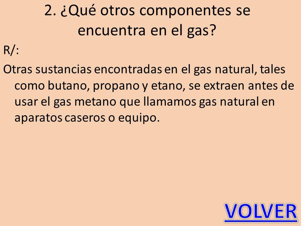 2. ¿Qué otros componentes se encuentra en el gas