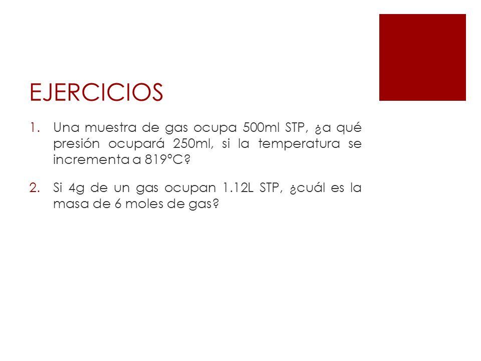 EJERCICIOS Una muestra de gas ocupa 500ml STP, ¿a qué presión ocupará 250ml, si la temperatura se incrementa a 819ºC