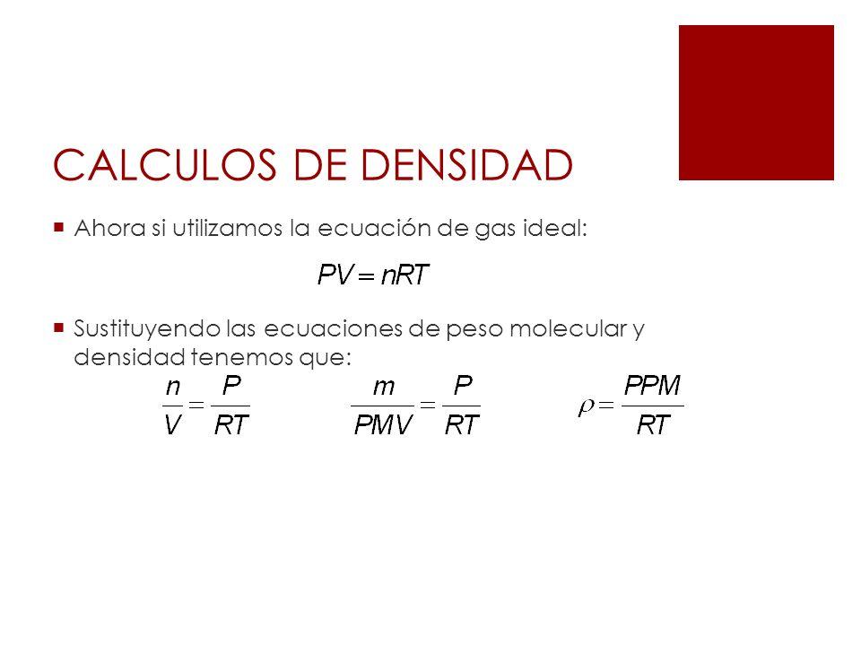CALCULOS DE DENSIDAD Ahora si utilizamos la ecuación de gas ideal: