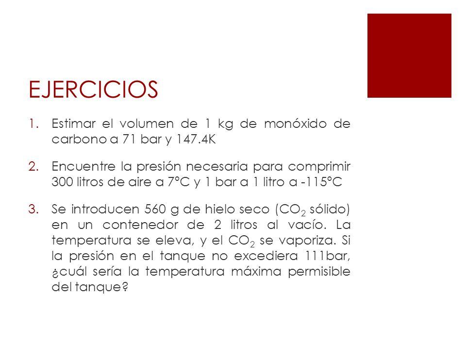 EJERCICIOS Estimar el volumen de 1 kg de monóxido de carbono a 71 bar y 147.4K.