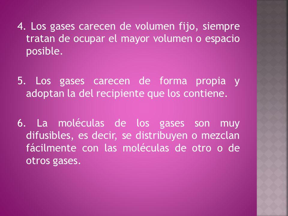 4. Los gases carecen de volumen fijo, siempre tratan de ocupar el mayor volumen o espacio posible.