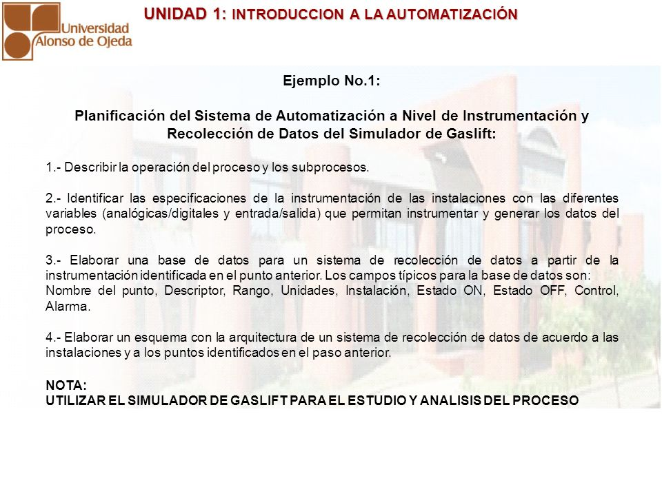 Ejemplo No.1: Planificación del Sistema de Automatización a Nivel de Instrumentación y Recolección de Datos del Simulador de Gaslift: