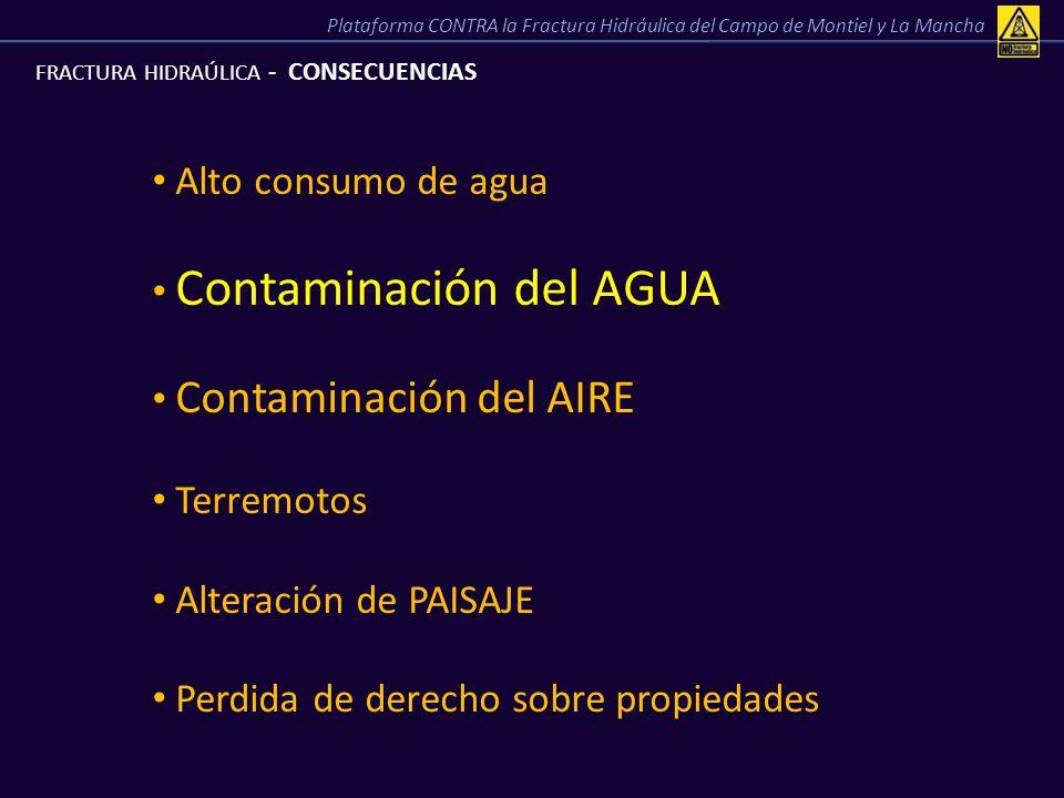 Contaminación del AGUA Contaminación del AIRE Terremotos