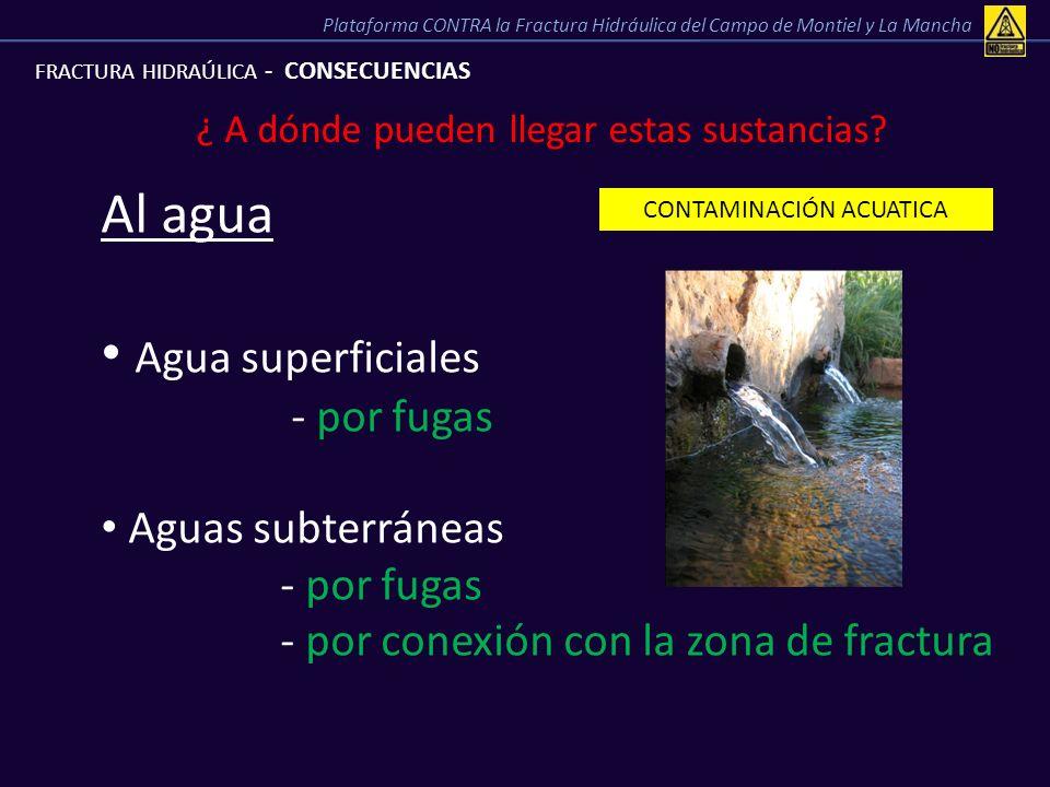 Al agua Agua superficiales - por fugas Aguas subterráneas