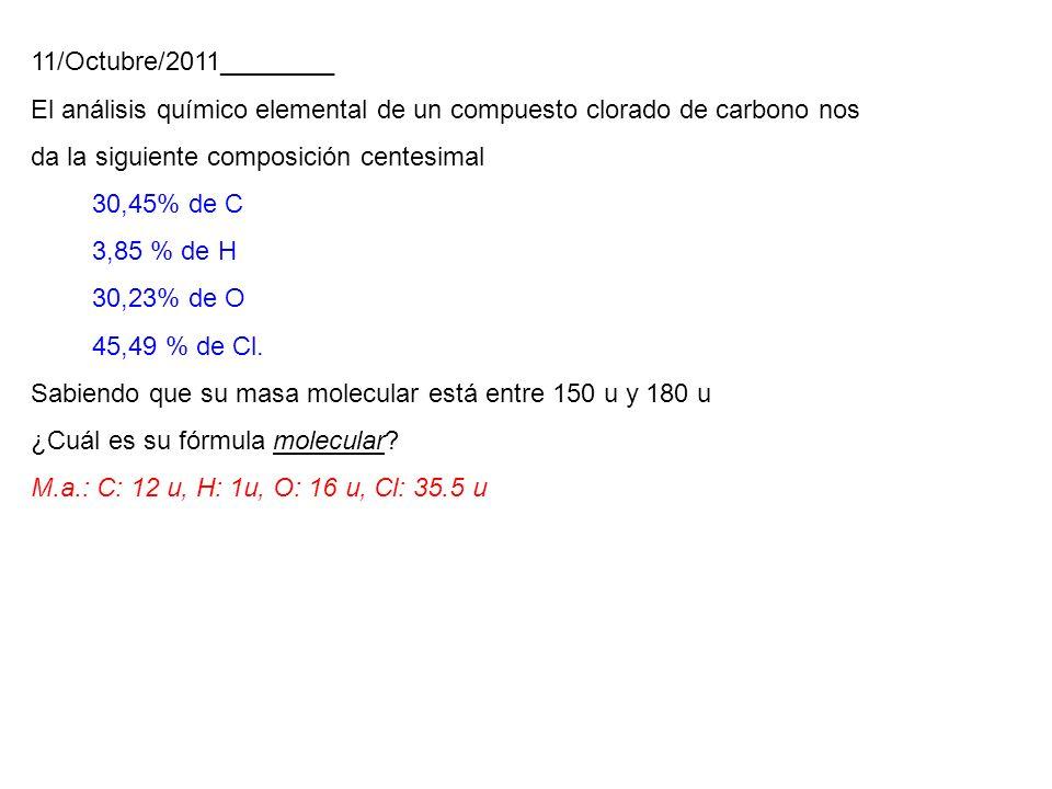 11/Octubre/2011________ El análisis químico elemental de un compuesto clorado de carbono nos da la siguiente composición centesimal.