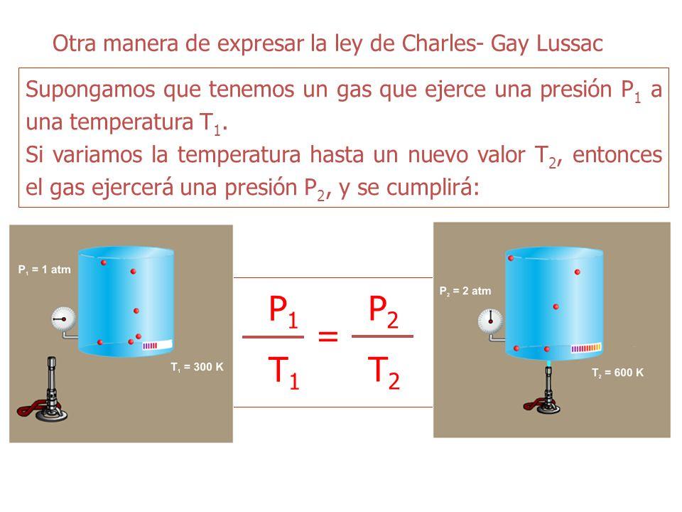 P1 T1 = P2 T2 Otra manera de expresar la ley de Charles- Gay Lussac