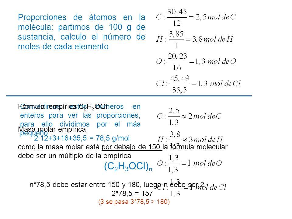 Proporciones de átomos en la molécula: partimos de 100 g de sustancia, calculo el número de moles de cada elemento